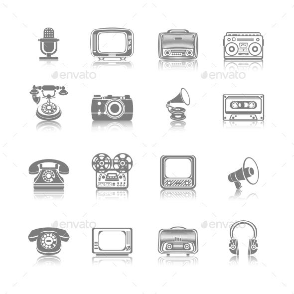 GraphicRiver Retro Media Black Icons 9202288