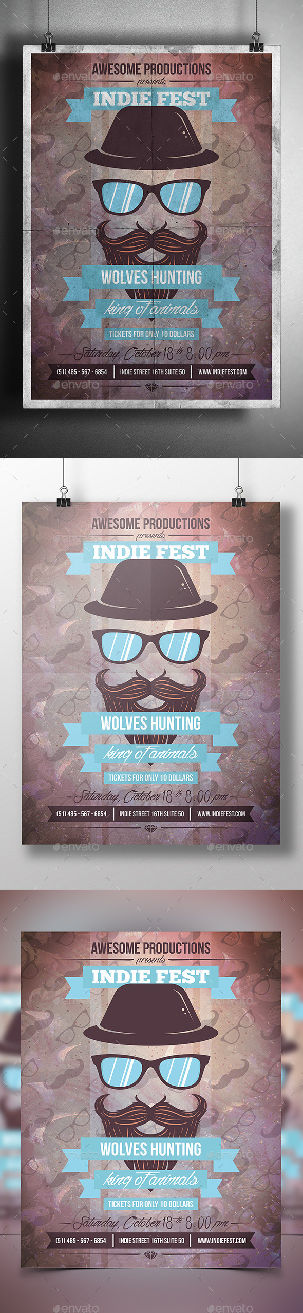 GraphicRiver Hipster Party Flyer Poster 9203021