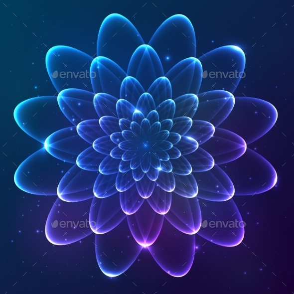 GraphicRiver Blue Shining Vector Cosmic Flower 9203144