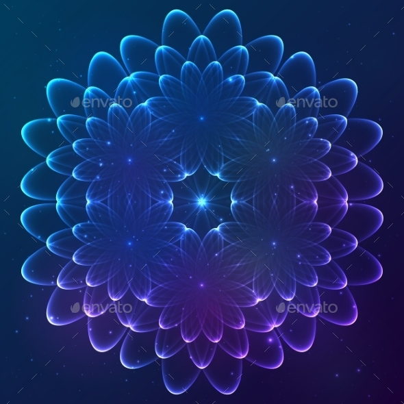 GraphicRiver Blue Shining Vector Cosmic Flower 9203175