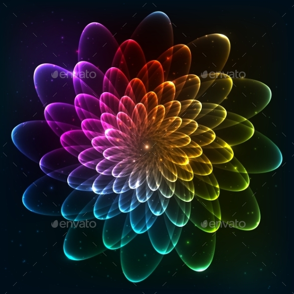 GraphicRiver Rainbow Colors Vector Cosmic Flower 9203179