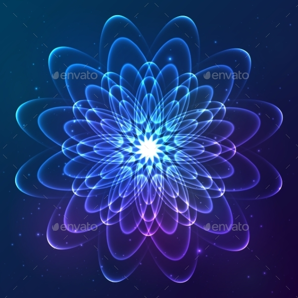 GraphicRiver Blue Shining Vector Cosmic Flower 9203181