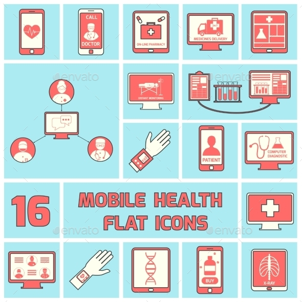 GraphicRiver Mobile Health Icons Set Flat Line 9203705