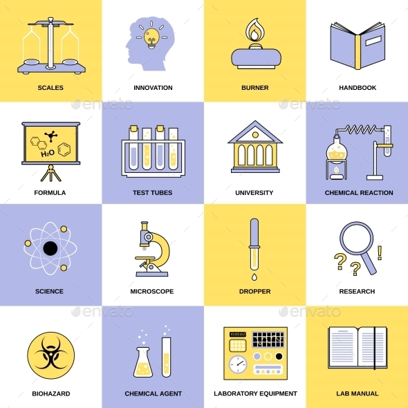 GraphicRiver Chemistry Flat Line Icons 9203706