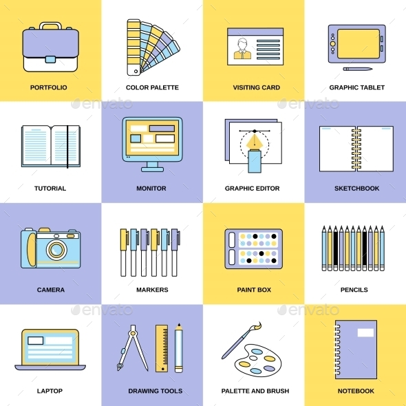GraphicRiver Design Flat Line Icons 9203709