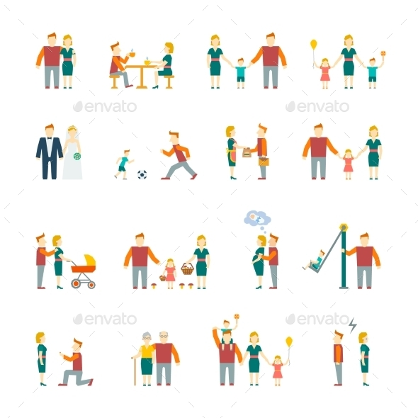 GraphicRiver Family Icons Set Flat 9203712