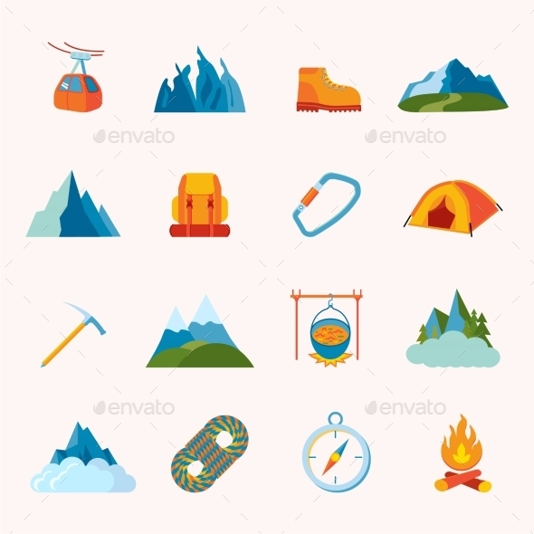 GraphicRiver Mountain Icons Flat 9203722