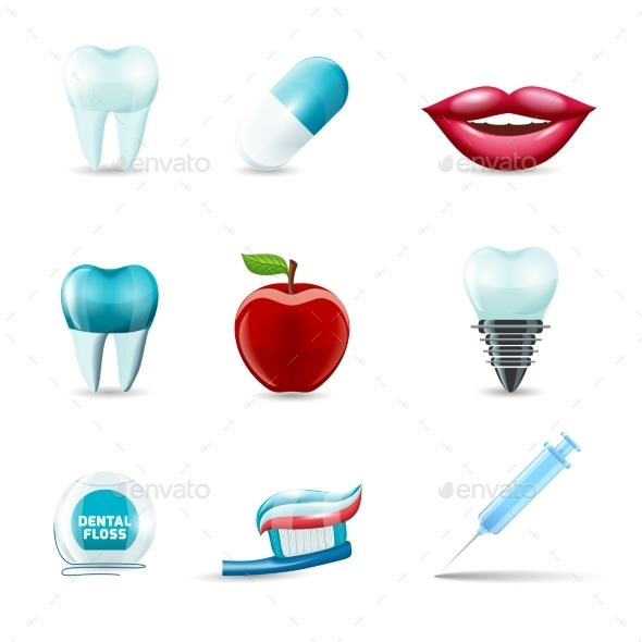 Dental Icons Realistic