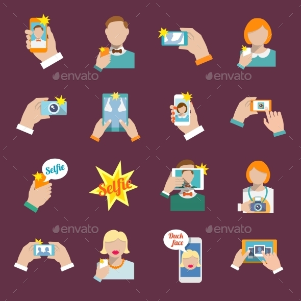 GraphicRiver Selfie Icons 9203730
