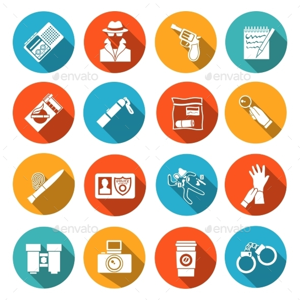 GraphicRiver Detective Icons Set 9203731