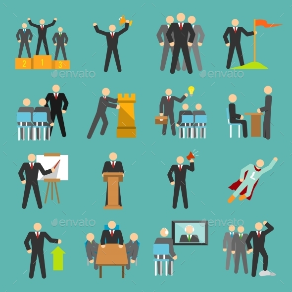 GraphicRiver Leadership Icons Flat 9203733