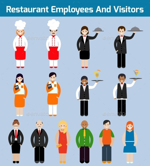 GraphicRiver Restaurant Employees Flat 9203736
