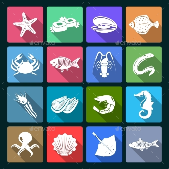 GraphicRiver Seafood Icons Set 9203743
