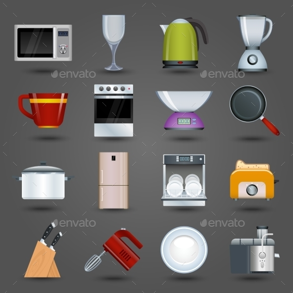 GraphicRiver Kitchen Appliances Icons 9203745