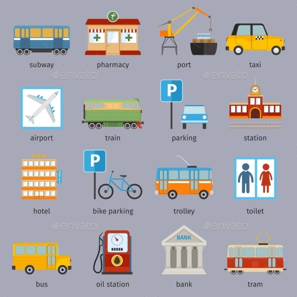 GraphicRiver City Infrastructure Icons 9203747