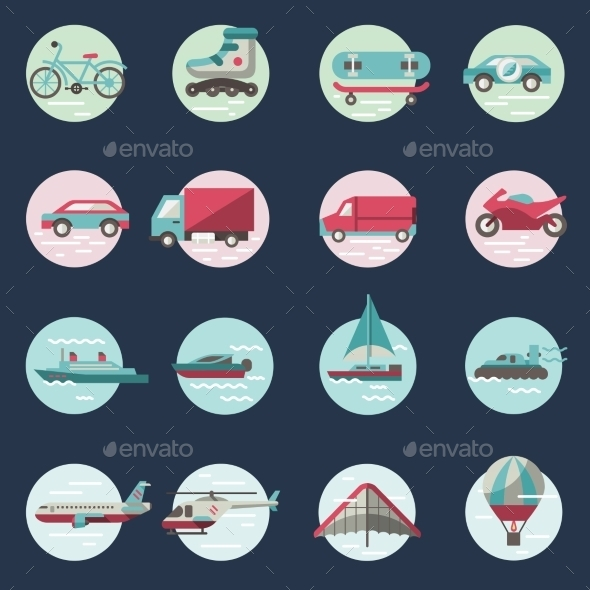 GraphicRiver Transport Icons Round Set 9203754