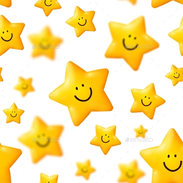 Yellow Stars Vector Seamless Pattern