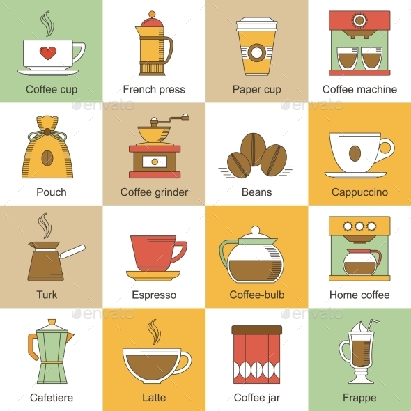 GraphicRiver Coffee Icons Flat 9203758