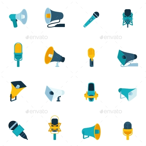 GraphicRiver Microphone and Megaphone Icons Flat 9203770