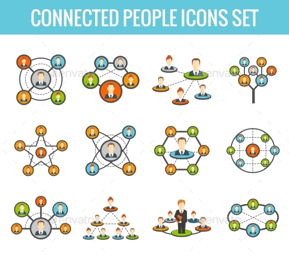 GraphicRiver Connected People Flat Icons Set 9203775
