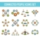 Connected People Flat Icons Set - GraphicRiver Item for Sale