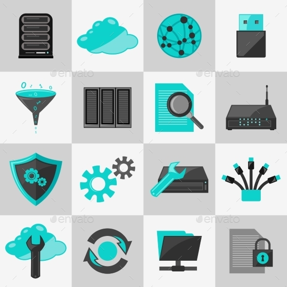 GraphicRiver Database Icons Flat 9203776
