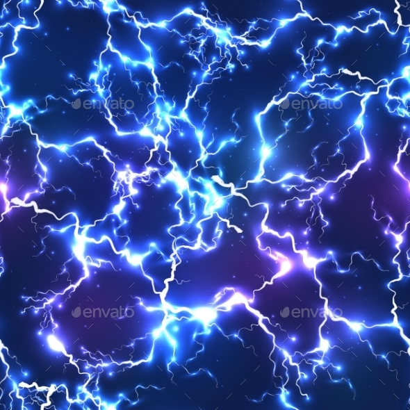 GraphicRiver Abstract Blue Electric Lightning Seamless Pattern 9203799