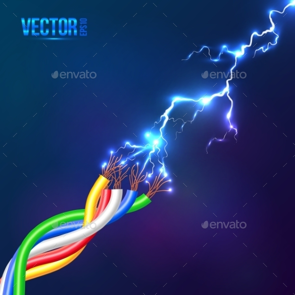 GraphicRiver Electric Lightning Flash to Colored Cables 9203868
