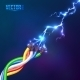 Electric Lightning Flash to Colored Cables - GraphicRiver Item for Sale