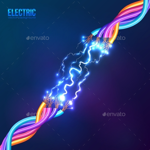 GraphicRiver Electric Lightning between Colored Cables 9203889