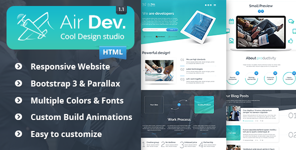 ThemeForest Air Dev Responsive Website Template 9177452