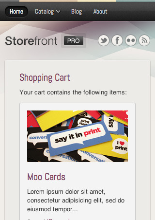 Storefront Pro — A Responsive Business Template - The top of the shopping cart as it would appear on a smartphone screen.