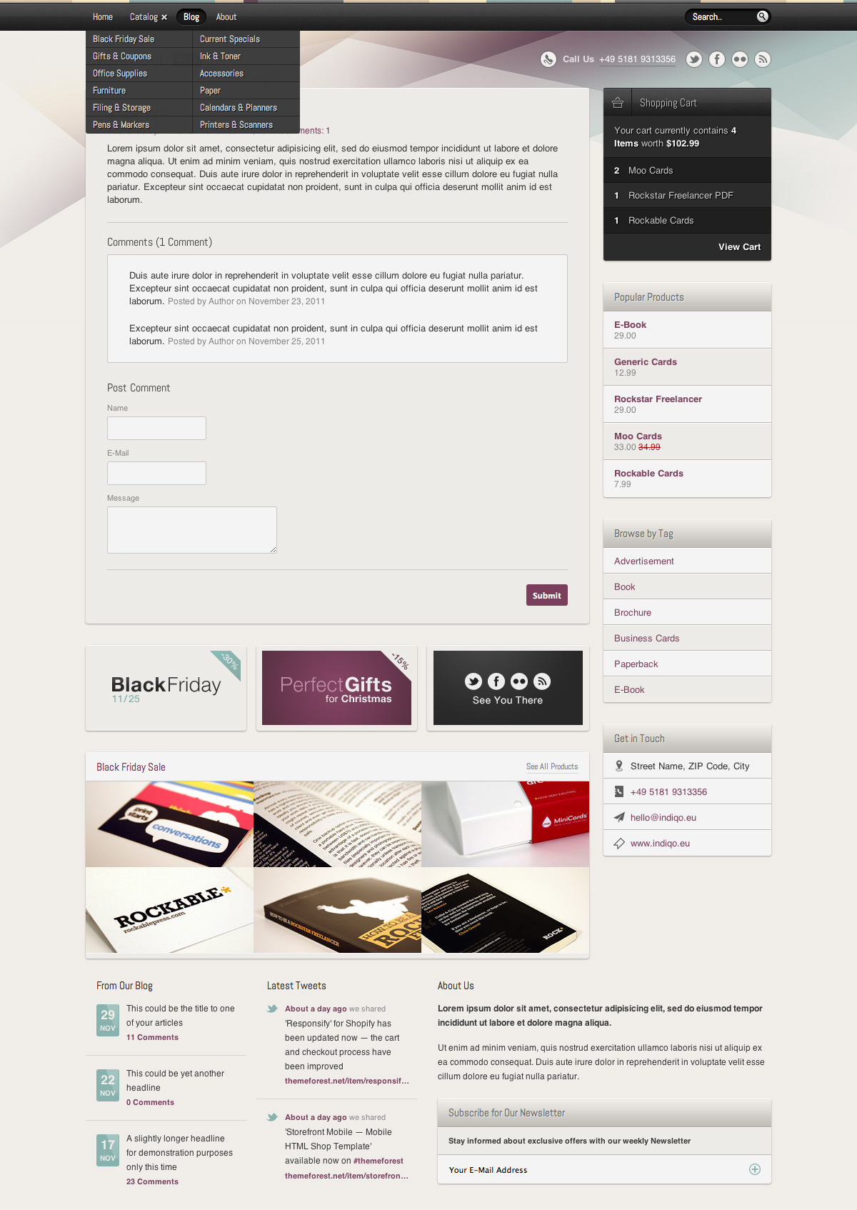 Storefront Pro — A Responsive Business Template - An article page as it would appear on a desktop computer screen with expanded category drop down menu.