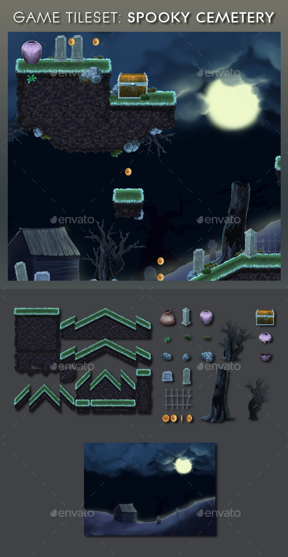 GraphicRiver Platform Game Tileset 13 Spooky Cemetery 9204272