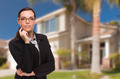 Attractive Mixed Race Woman in Front of Beautiful New Residential House. - PhotoDune Item for Sale