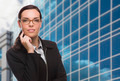 Confident Attractive Mixed Race Woman in Front of Corporate Building Outside. - PhotoDune Item for Sale