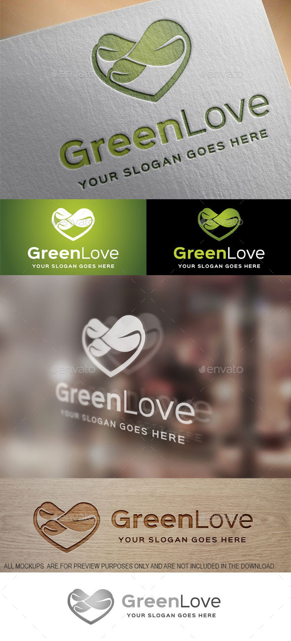Green Love Logo Template