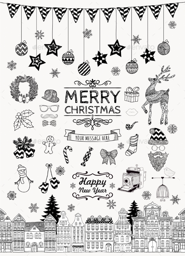 GraphicRiver Set of Hand-Drawn Outlined Christmas Doodles 9204531