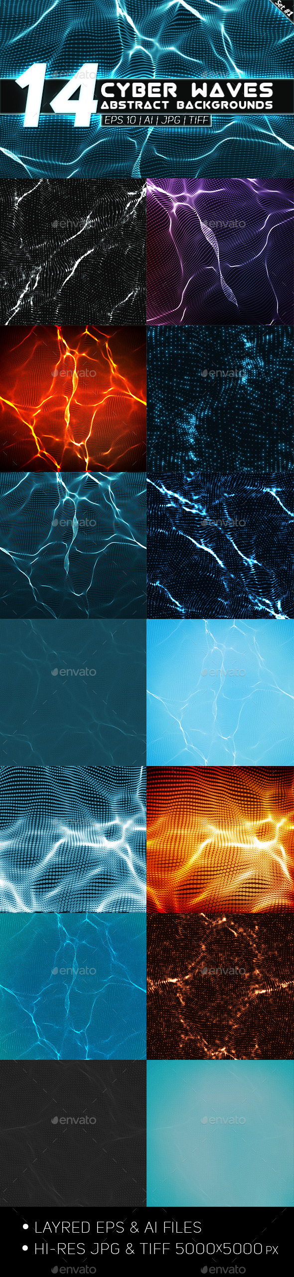 GraphicRiver 14 Abstract Cyber Waves Backgrounds Set 1 9177386