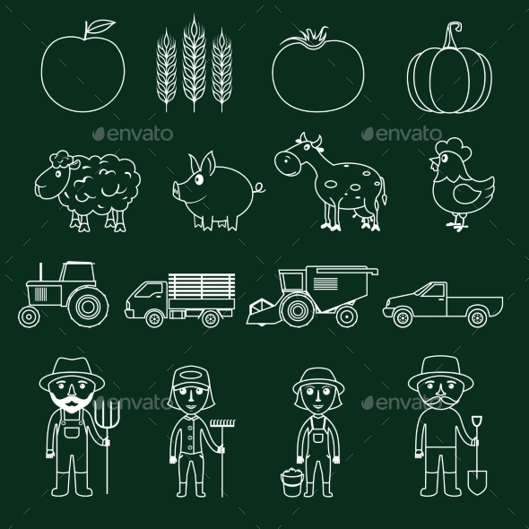 GraphicRiver Farm Icons Set Outline 9204902