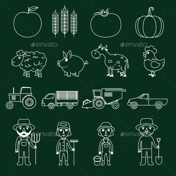 GraphicRiver Farm Icons Set Outline 9204902