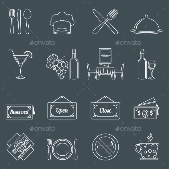 GraphicRiver Restaurant Icons Set 9204905