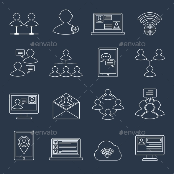 GraphicRiver Communication Icons Set Outline 9204908