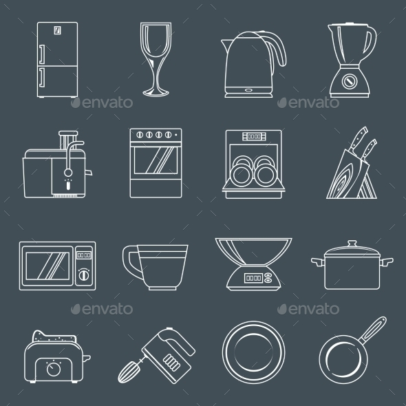 GraphicRiver Kitchen Appliances Icons Outline 9204909