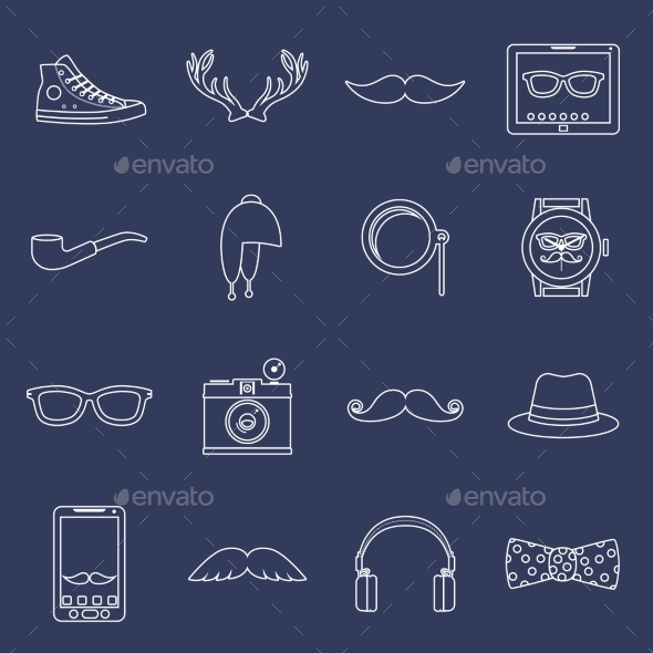 GraphicRiver Hipster Icons Set Outline 9204911
