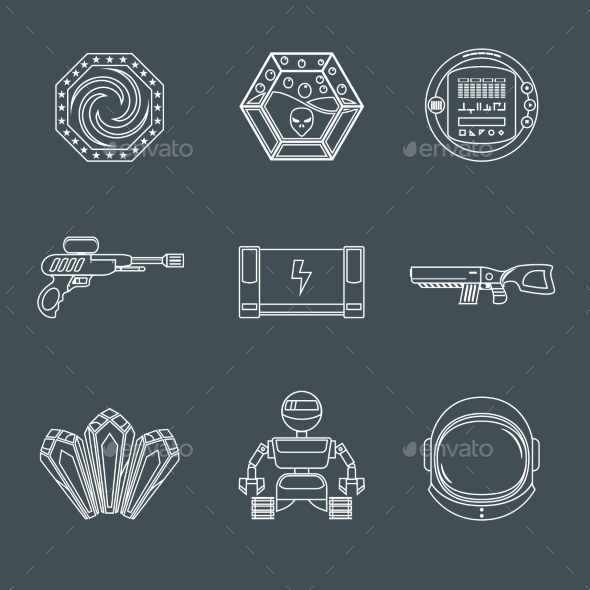 GraphicRiver Space Game Icons 9204914