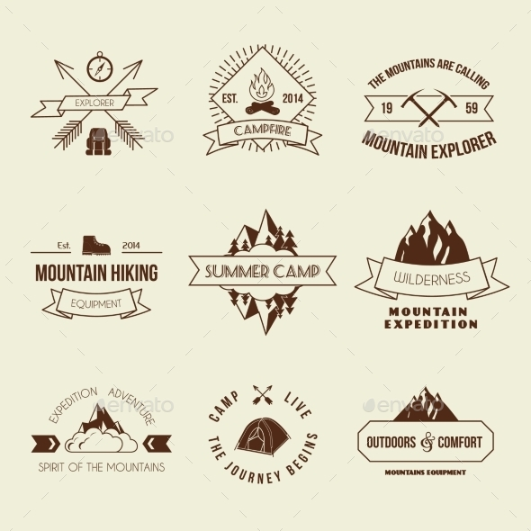 GraphicRiver Camping Labels Set 9205499