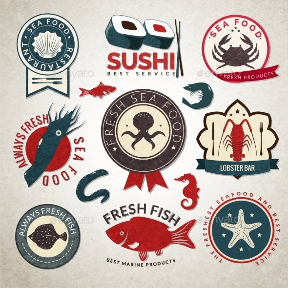 GraphicRiver Seafood Labels Set 9205502