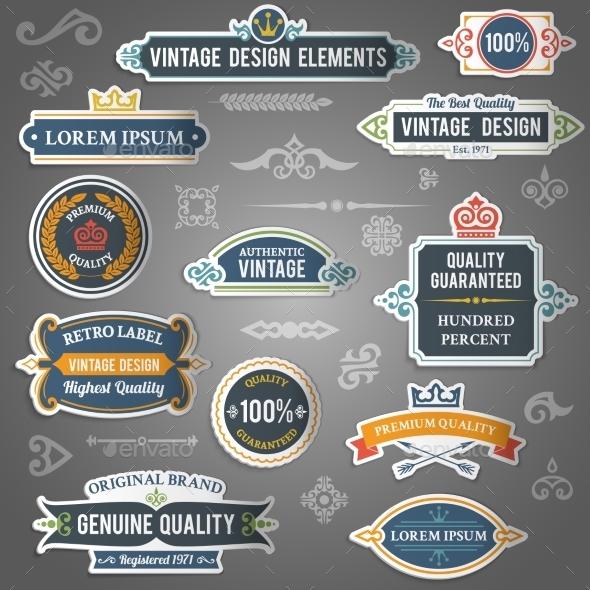 GraphicRiver Vintage Design Stickers 9205505