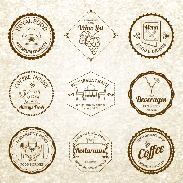 GraphicRiver Restaurant Label Set Black 9205506